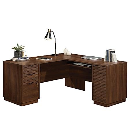 "Sauder® Englewood 65""W L-Desk, Spiced Mahogany"