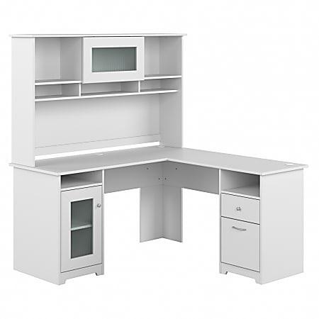 "Bush Furniture Cabot L-Shaped Desk With Hutch, 60""W, White, Standard Delivery"
