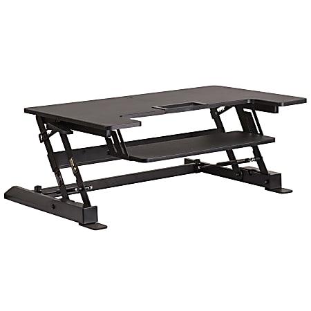 "Flash Furniture HERCULES Series Sit-Stand Height-Adjustable Ergonomic Desk Riser With Keyboard Tray, 16-1/2"" H x 36-1/4''W x 33""D, Black"