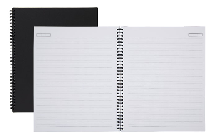 "Office Depot® Brand Wirebound Business Notebook, 8 7/8"" x 11"", 1 Subject, Narrow Ruled, 160 Pages (80 Sheets), Black"