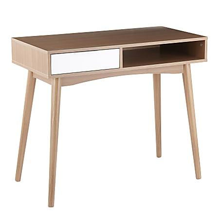 """LumiSource Pebble 36""""W Desk, Natural/White"""