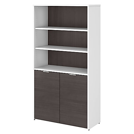 Bush Business Furniture Jamestown 5-Shelf Bookcase With Doors, Storm Gray/White, Standard Delivery