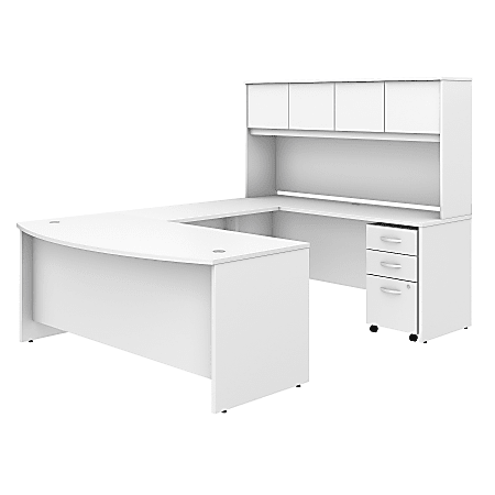 """Bush Business Furniture Studio C U Shaped Desk with Hutch and Mobile File Cabinet, 72""""W x 36""""D, White, Standard Delivery"""