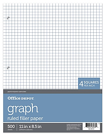 """Office Depot® Brand Quadrille-Ruled Notebook Filler Paper, 8 1/2"""" x 11"""", White, Pack Of 500 Sheets"""
