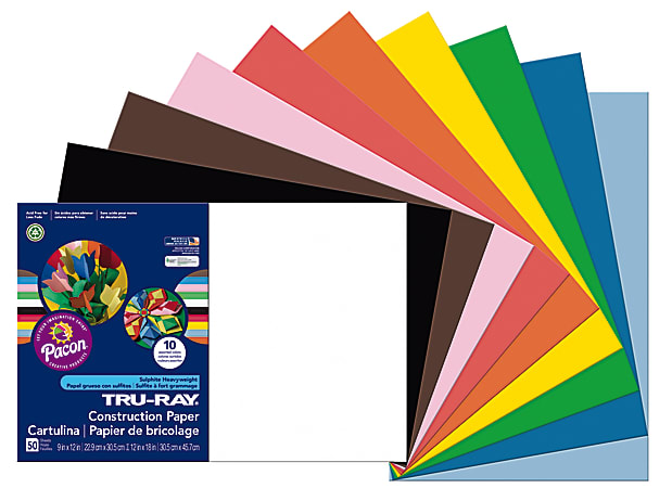 """Tru-Ray® Construction Paper, 50% Recycled, Assorted Colors, 12"""" x 18"""", Pack Of 50"""