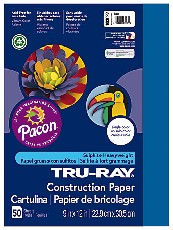 "Tru-Ray® Construction Paper, 50% Recycled, 9"" x 12"", Blue, Pack Of 50"