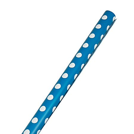 JAM Paper® Wrapping Paper, Polka Dot, 25 Sq Ft, Blue & White