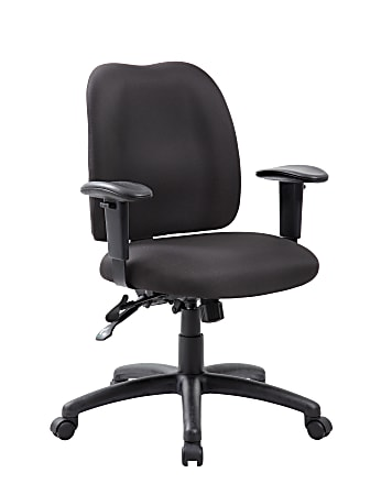 Boss Multi-Function Mid-Back Task Chair, Fabric, Black