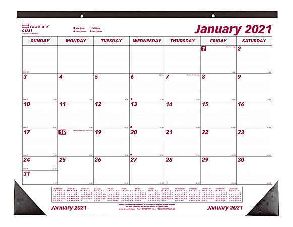 """Brownline® Classic Monthly Desk Pad Calendar, 17"""" x 22"""", Burgundy/Gray, January to December 2021, C1731"""