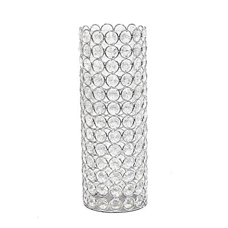 "Elegant Designs Ellipse Crystal Decorative Vase, 11-1/4""H x 4""W x 4""D, Chrome"