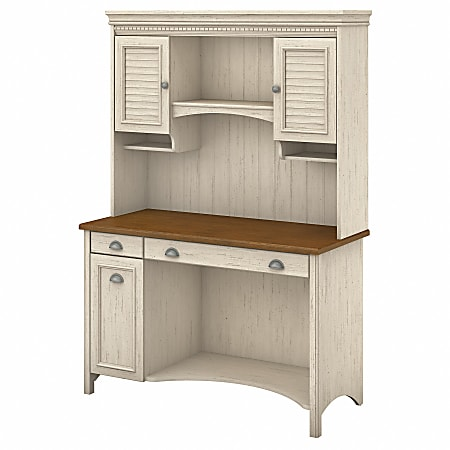 Bush Furniture Fairview Computer Desk With Hutch And Drawers, Antique White/Tea Maple, Standard Delivery