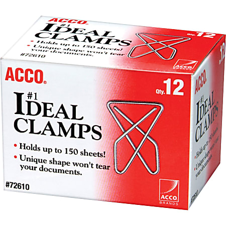 ACCO® Ideal Paper Clamp (Butterfly Clamp), Smooth Finish, #1 Size (Large), 12/Box - Large - No. 1 - 150 Sheet Capacity - 12 / Box - Silver - Metal