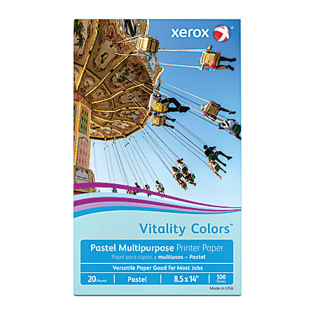 """Xerox® Vitality Colors™ Multi-Use Printer Paper, Legal Size (8 1/2"""" x 14""""), 20 Lb, 30% Recycled, Blue, Ream Of 500 Sheets"""