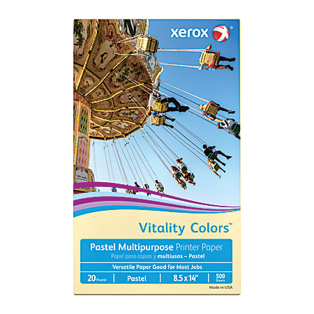 """Xerox® Vitality Colors™ Multi-Use Printer Paper, Legal Size (8 1/2"""" x 14""""), 20 Lb, 30% Recycled, Ivory White, Ream Of 500 Sheets"""