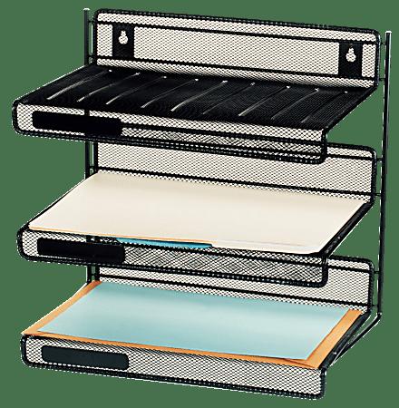 Brenton Studio® Black Mesh 3-Tier Desk Shelf