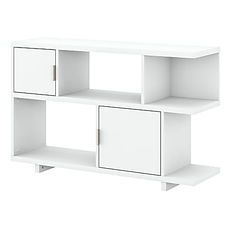 "kathy ireland® Home by Bush Furniture Madison Avenue 30""H 2-Shelf Low Geometric Bookcase With Doors, Pure White, Standard Delivery"
