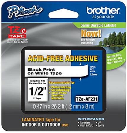 """Brother® TZ-AF231 Black-On-White Tape, 0.5"""" x 26.2'"""
