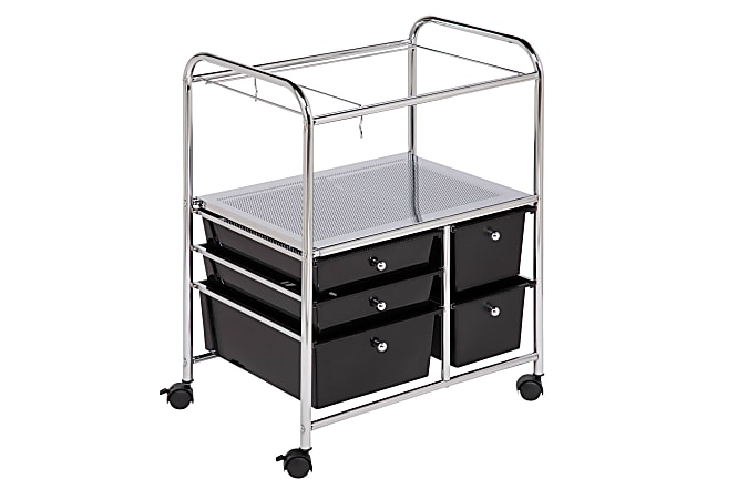 "Honey-Can-Do 5-Drawer Plastic/Steel Hanging File Rolling Office Cart, 38 1/2""H x 21 1/2""W x 15 1/4""D, Chrome/Black"