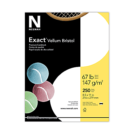 """Exact® Vellum Bristol Cover Stock, 8 1/2"""" x 11"""", 67 Lb, White, Pack Of 250 Sheets"""