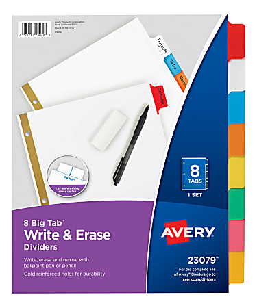 Avery® Big Tab™ Write-On Tab Dividers With Erasable Laminated Tabs, 8-Tab, Multicolor