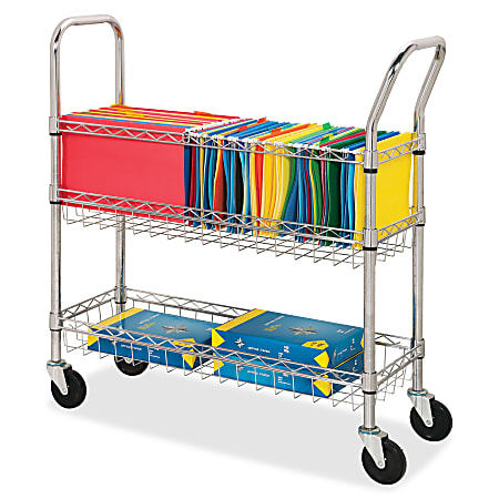 Lorell® Mobile Wire Mail Cart, Chrome