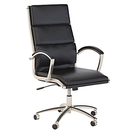 Bush Business Furniture Modelo Bonded Leather High-Back Office Chair, Black, Standard Delivery