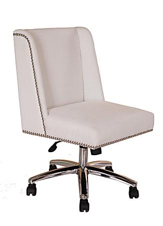 Boss Decorative Velvet Mid-Back Task Chair, White