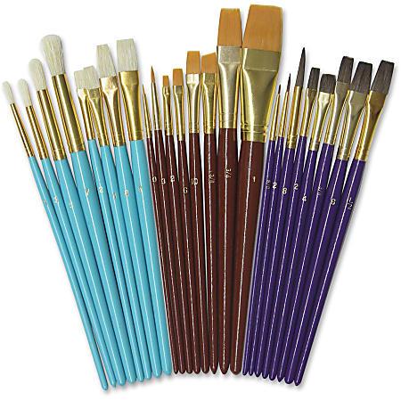Creativity Street Deluxe Brush Assortment - 24 Brush(es) Natural Wood - Aluminum Ferrule