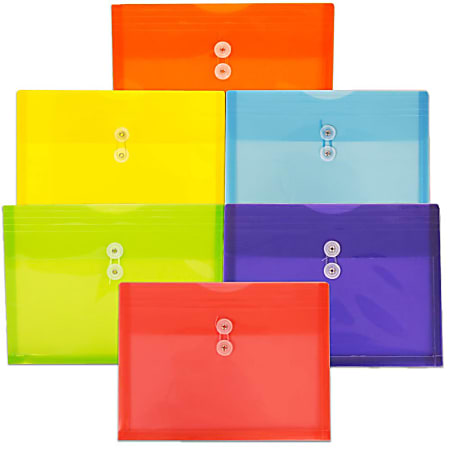 "JAM Paper® Plastic Letter Booklet Envelopes, 9-3/4"" x 13"", Button & String Closure, Assorted Colors, Pack Of 6 Envelopes"