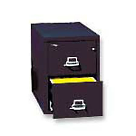 "FireKing® 25""D Vertical 2-Drawer Legal-Size File Cabinet, Metal, Black, White Glove Delivery"