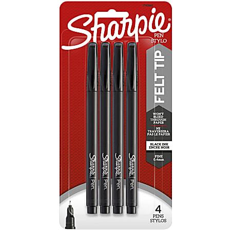 Sharpie® Fine-Point Pens, Fine Point, 0.4 mm, Black Barrels, Black Ink, Pack Of 4