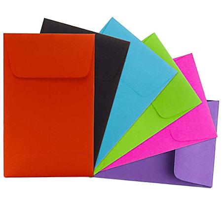 JAM Paper® Coin Envelopes, #5 1/2, Gummed Seal, Assorted Colors, Pack Of 150 Envelopes
