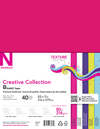 """Neenah® Creative Collection™ Textured Paper, Letter Size (8 1/2"""" x 11""""), 80 Lb, Assorted Bright Colors, 40 Sheets"""