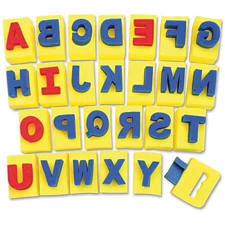 "ChenilleKraft Paint-Handle Sponge Capital A-Z Letters, 2""H x 3""W x 2 1/2""D, Yellow/Blue/Red"