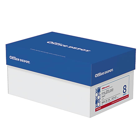 Office Depot® Brand Multi-Use Paper, Letter Size Paper, 94 Brightness, 20 Lb, White, Ream Of 500 Sheets, Case Of 8 Reams