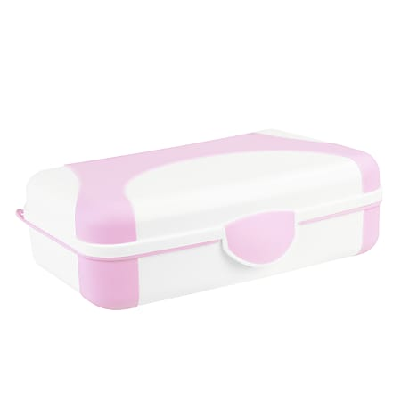 """Office Depot® Brand Overmolded Web Pencil Box, 2-3/4""""H x 5-1/4""""W x 8""""D, Pink/White"""