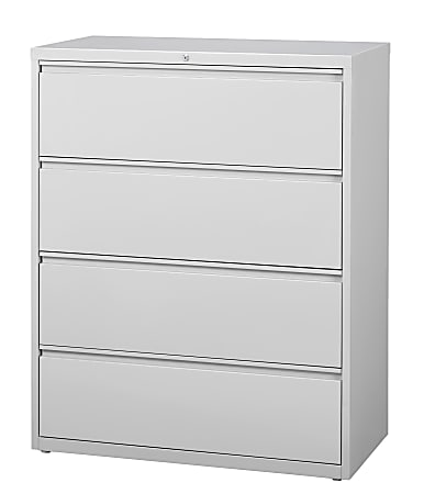 """WorkPro® 42""""W Lateral 4-Drawer File Cabinet, Metal, Light Gray"""