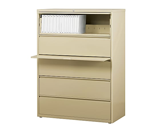 """WorkPro® 42""""W Lateral 5-Drawer File Cabinet, Metal, Putty"""
