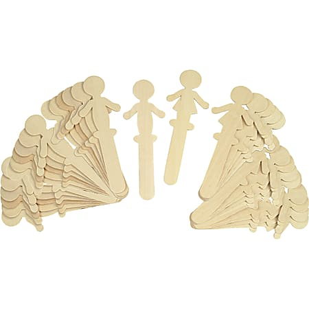 """Chenille Kraft People-Shaped Wood Craft Sticks, Natural, 5 3/8"""", Pack Of 36"""