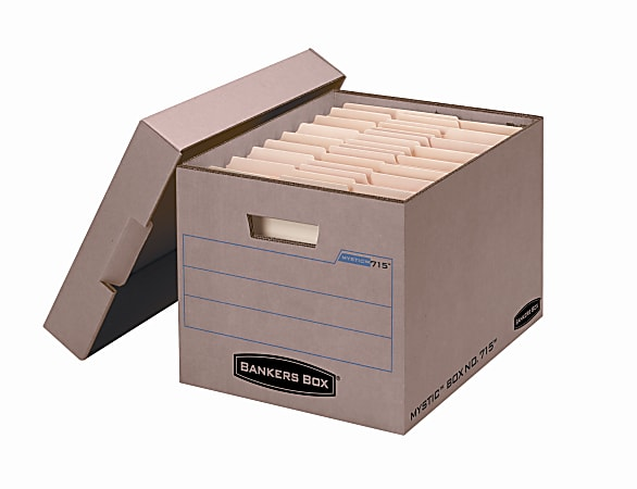 """Bankers Box® Mystic™ Storage Boxes With Lift-Off Lids, Letter/Legal Size, 10"""" x 12"""" x 15"""", 85% Recycled, Kraft, Case Of 25"""