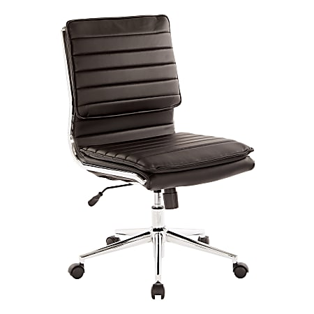 Office Star™ Pro-Line II™ SPX Armless Bonded Leather Mid-Back Chair, Black/Chrome