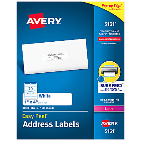 """Avery® Easy Peel® Address Labels With Sure Feed™ Technology, 5161, 1"""" x 4"""", White, Box Of 2,000"""