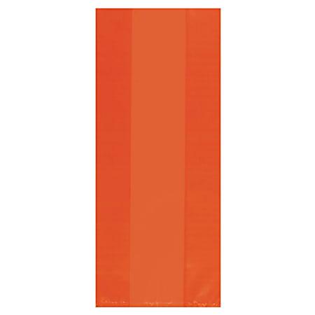 "Amscan Large Plastic Treat Bags, 11-1/2""H x 5""W x 3-1/4""D, Orange, Pack Of 100 Bags"
