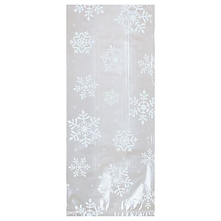 "Amscan Christmas White Snowflake Small Cellophane Party Bags, 9-1/2"" x 4"", Pack Of 200 Bags"