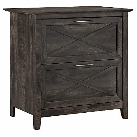 """Bush Furniture Key West 30""""W Lateral 2-Drawer File Cabinet, Dark Gray Hickory, Standard Delivery"""