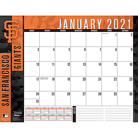 """Lang Turner Licensing Sports Monthly Desk Pad, 17"""" x 22"""", San Francisco Giants, January To December 2021"""