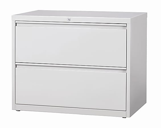 """WorkPro® 36""""W Lateral 2-Drawer File Cabinet, Metal, Light Gray"""