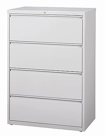 """WorkPro® 36""""W Lateral 4-Drawer File Cabinet, Metal, Light Gray"""