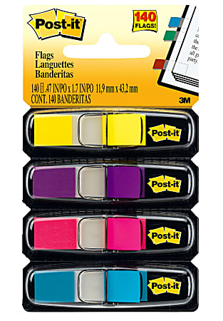 """Post-it® Notes Flags, 3/8"""" x 1-7/10"""", Assorted Bright Colors, 85 Flags Per Dispenser, Pack Of 4 Pads"""