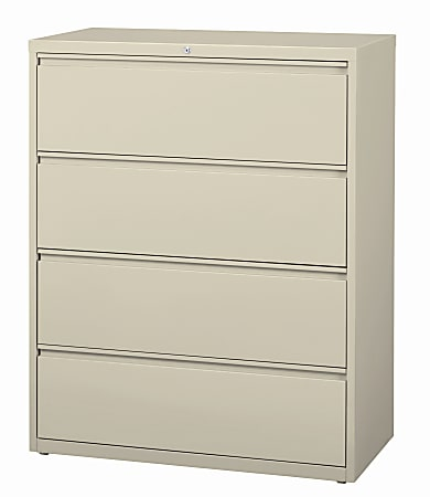 """WorkPro® 42""""W Lateral 4-Drawer File Cabinet, Metal, Putty"""